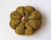 Pincushion Olive Green Fabric with Gold accents. Great for a sewing gift - Round Pin cushion Double Sided quilting fabric.