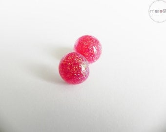 Pink Glitter  Stud Earrings, Glitter Earrings, Stud Earrings, Surgical Steel Earrings, Hypoallergenic Jewelry, Bio-resin Jewelry, Christmas