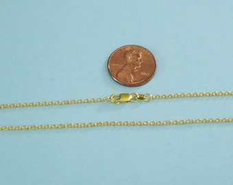 Finished Chain, 24k Gold Vermeil, 16 Inch, 2mmx1.5mm Cable Chain with Lobster Clasp, VFCH212