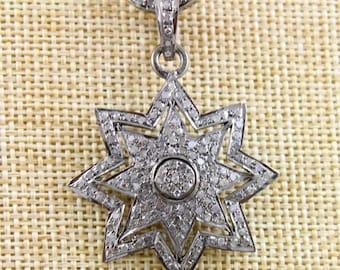 Pave Diamond Pendant, Pave Diamond North Star pendant, pave diamond star, Pave diamond stardust, (DCH/CR540)