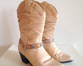 Tan Slouchy Cowboy Boots by Dingo Ladies Size 7 Circa 1980s