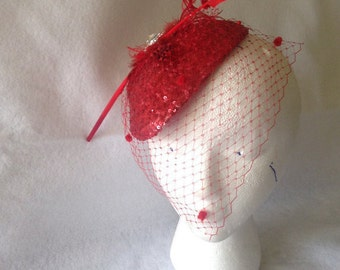 Vintage Inspired Red Feather Fascinator Hat with Red Dotted birdcage veil, High Tea Party Hat, 1950s Vintage Hat, Red Mini Hat