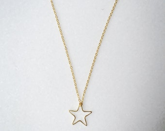 Danity Gold Star Necklace, Star Necklace, Bridesmaid Gift, Gold Necklace