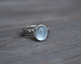 Aquamarine Ring, Aquamarine, Floral Band, Silver Aquamarine Ring, Sterling Silver