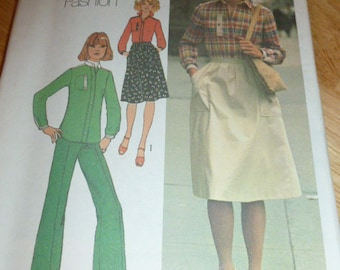 7621 Simplicity Size 12 Pattern Young Contemporary Fashion Misses Shirt Skirt & Pants Vintage 1976