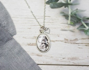 Alice's Adventures in Wonderland by Lewis Carroll Alice and the Flamingo Antiqued Bronze Book Page Literature Necklace