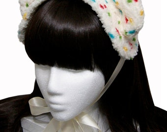 Sweet Funfetti Cake Batter Ice Cream Bear Bonnet Headdress - Made to Order