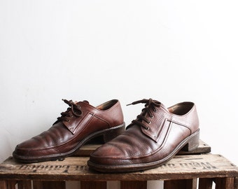 Vintage 1970s Brown Leather Shoes Lace Up Urban Mens Accessories Size 44