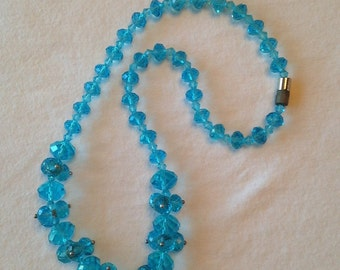Vintage Stunning Blue Glass Choker ~ Necklace ~ Amazing Blue ~ 17""