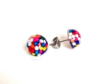 Tiny sprinkles stud earrings, food jewelry, candy post earrings, kawaii earrings, sweet lolita jewelry
