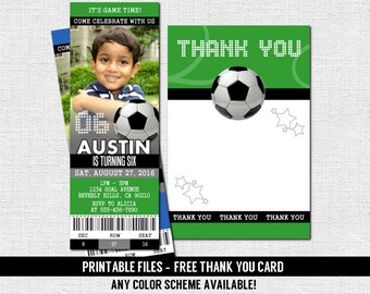 SOCCER TICKET INVITATIONS + Free Thank You Card - Birthday Party - (print your own) Any Color! Personalized Printable Files (Football)