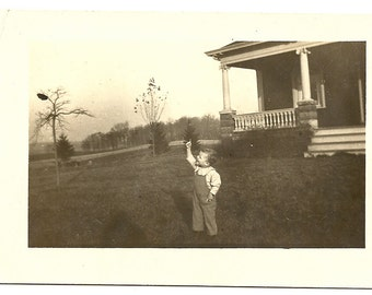 1920s Look Mom! Its a Bird! Toddler on Lawn-RPPC