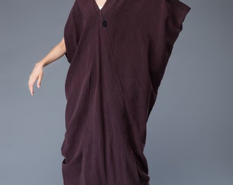 Darkviolet linen dress maxi dress loose dress C941
