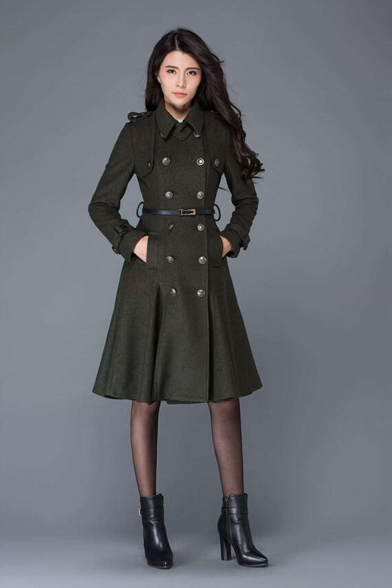 long trench coat womens coat winter coat army coat coat