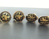 Lot of 2 Pair of Damascene Bird and Floral Vintage Earrings - Clip Back - Gold Tone Amita Japanese Style - Cloisonné # 4256