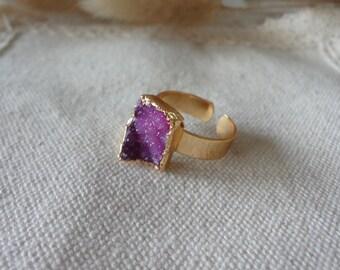 pink  Agate Druzy Drusy Golden Mineral Ring Raw Gemstone Rough Statement Adjustable Ring