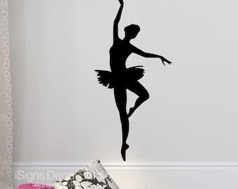 Ballerina Dance Wall Decal  -  Ballet Decal - Dance Wall Decal - Ballerina - Ballet Silhouette Decal - Dancing Decal - Girls Dance Decal