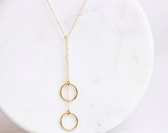 Lariat necklace with rings / Long gold or silver necklace / Lariat necklace / Necklace with rings / Long lariat / Minimal lariat