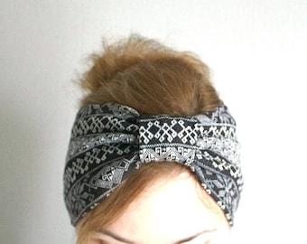 Winter headband ear warmer warm turban head wrap nordic scandinavian pattern black head covering hat wind protection