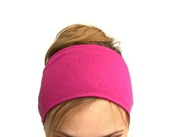 Fuchsia Wide headband double sided elastic women's head band large workout sport jersey comfort fitness yoga head wrap bright pink