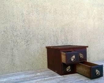 Vintage Wood Letterpress Printmaker Printer's Storage File Cabinet
