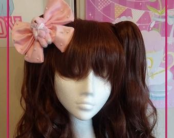 KawaiiPink Bear Sweet Lolita Satin Twin Tail Bow