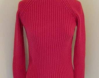 Red Ribbed Pullover Sweater - Size Small Cotton Sweater from The Limited - Red Cotton Valentine Sweater - Boat Neck Long Sleeve Sweater