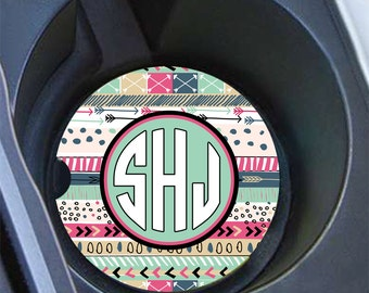 16th birthday gift for girls, Tribal monogram car coaster, Aztec cup holder coaster, Personalized gifts, Cute tribal auto accessory (1381)