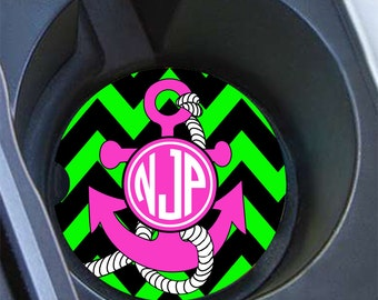 Gift for best friend, Monogram anchor car cup holder coaster, Lime green black hot pink, Chevron car coaster Personalized car coaster (1253)