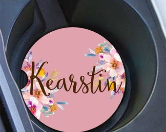 Monogrammed car coaster, Floral in light purple with flowers, Pretty car cup holder coaster, Girly car decoration, Gifts for women (1644)