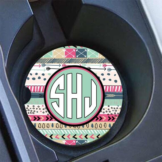 16th Birthday Gift For Girls Tribal Monogram Car Coaster