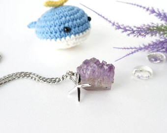 Big Druzy Amethyst Raw Crystal Necklace with Starfish Charm, Amethyst Crystal Stone Statement Jewelry