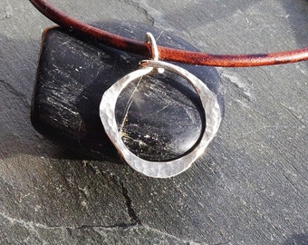 Leather Necklace, Silver Pendant Necklace, leather and silver, Silver Circle Necklace, Circle Pendant, Leather Cord Necklace, Modern