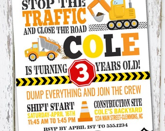 Construction Invite, dump truck invite, construction birthday party, construction, construction invitation, construction party