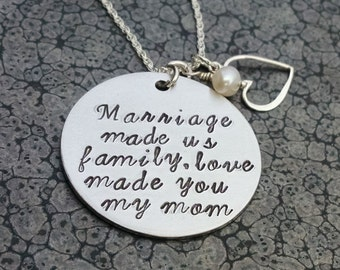 Gift for Mother in Law Personalized Hand Stamped Necklace Step Mother Necklace Love Made You My Mom Christmas Gift