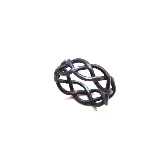 Heavy Oxidized Braided Ring - 8 mm wide - His Matching Wedding Band