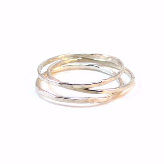 3 Skinny Silver Stacking Rings - Hammered or Smooth - Stackable Rings