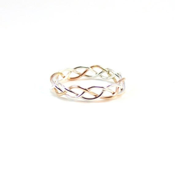 Silver and Gold Braided Ring. Unique Wedding Band. Alternative Engagement Ring. Braid Jewelry.