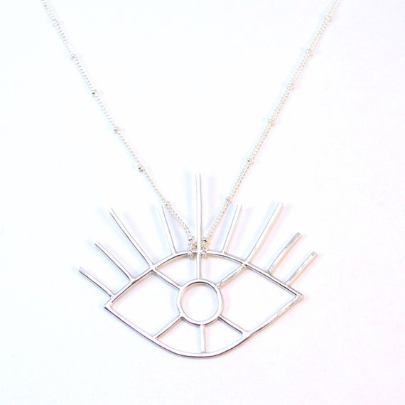 Evil Eye Necklace / Radiating Sun Iris / Silver All Seeing Eye Pendant