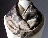 Ombre infinity scarf, Beige and chocolate brown, floral pattern