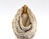 ON SALE Large Chunky Lace Infinity Scarf // The Verona // in Linen