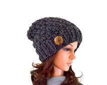 ON SALE Chunky Knit Slouchy Hat Beanie Toque with One Natural Coconut Shell Button // The Laurel // in Charcoal