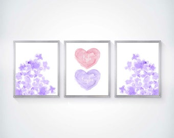 Pink and Purple Nursery, Pink and Purple Twins Nursery Art, Twin Girls Wall Decor, Twins Nursery Art, Twin Sisters, Sisters Wall Decor