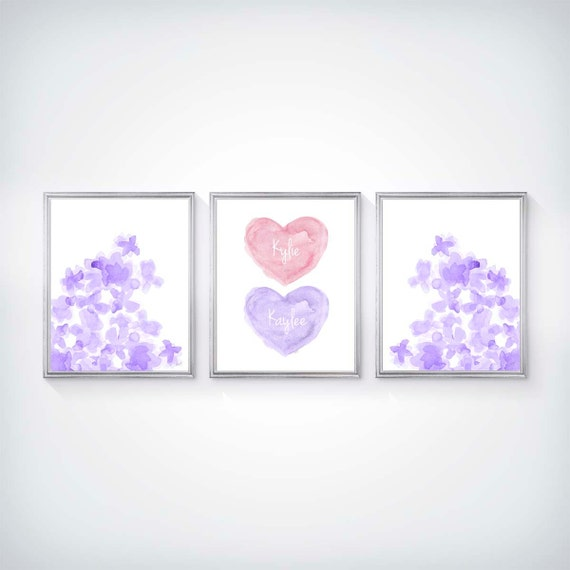 Pink and Purple Nursery Print Set with Flowers and Hearts, 8x10 Personalized