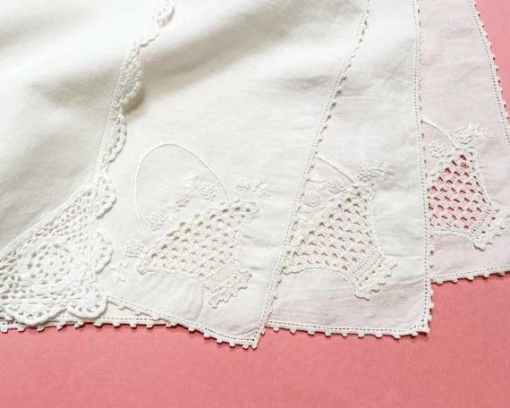 White Cotton Vintage Napkins, Set of 8