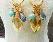 Golden Amber Oval Crystal Wire Wrapped Dangle Earrings