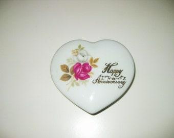 Vintage Happy Anniversary box, heart box,