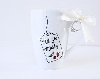 Will You Marry Me, Hand Painted Porcelain Coffee Tea Mug Cup, Wedding Proposal mug, Proposal idea, Cute Mugs, Custom Mug Valentines Proposal