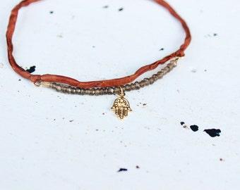 Wraplet - Choker - Smoky Topaz - Earthy Brown Silk - Hamsa - Hanukkah Gift - Gift For Her