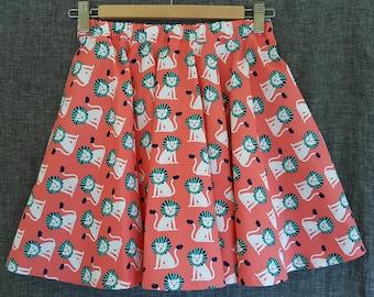 Retro Lion * Animal print twirly skirt / Girls twirly skirt size 8/10/12 * Lion print skirt for girls * circus animals * zoo animals